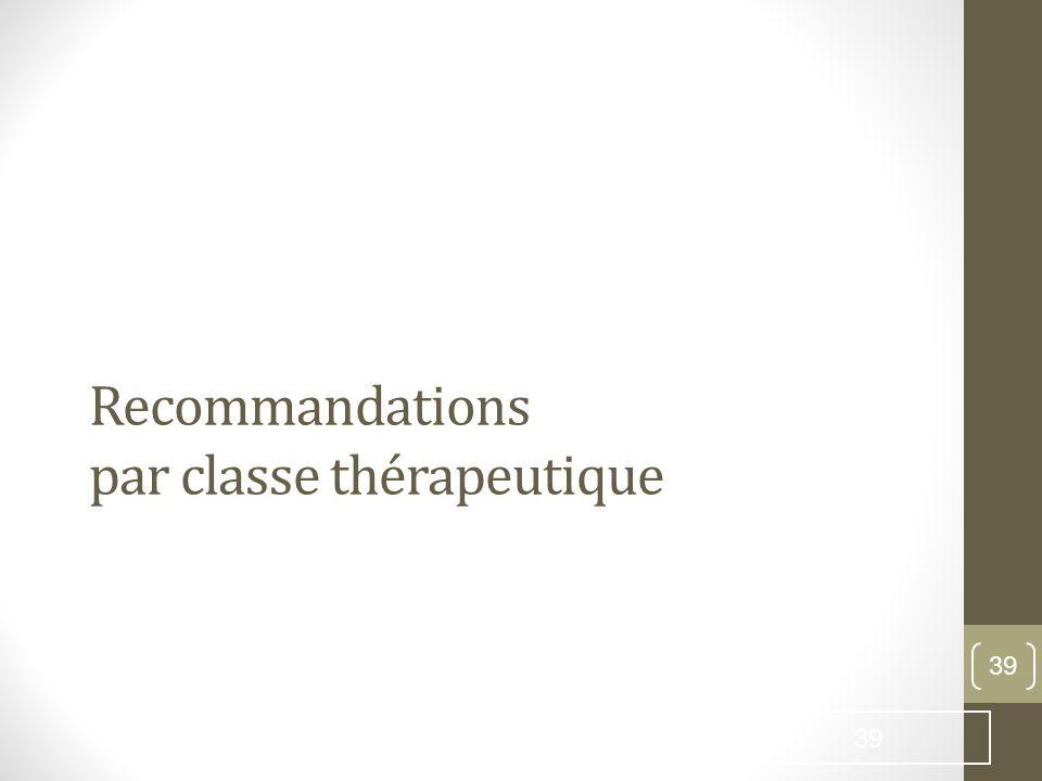 Recommandations par classe thérapeutique