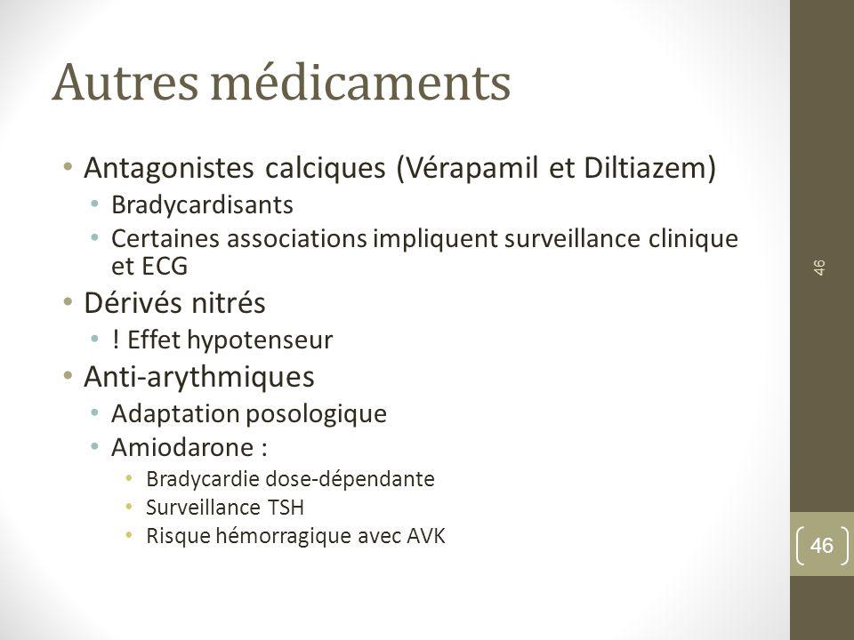 Autres médicaments Antagonistes calciques (Vérapamil et Diltiazem)