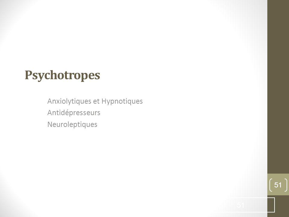 Anxiolytiques et Hypnotiques Antidépresseurs Neuroleptiques