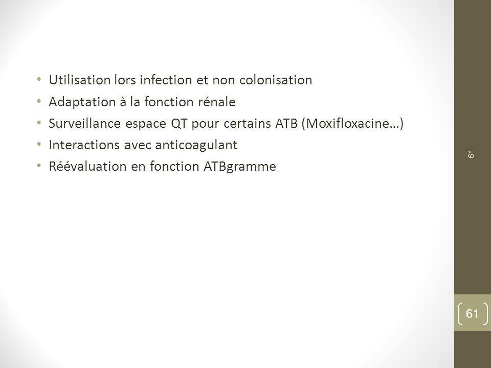 Utilisation lors infection et non colonisation
