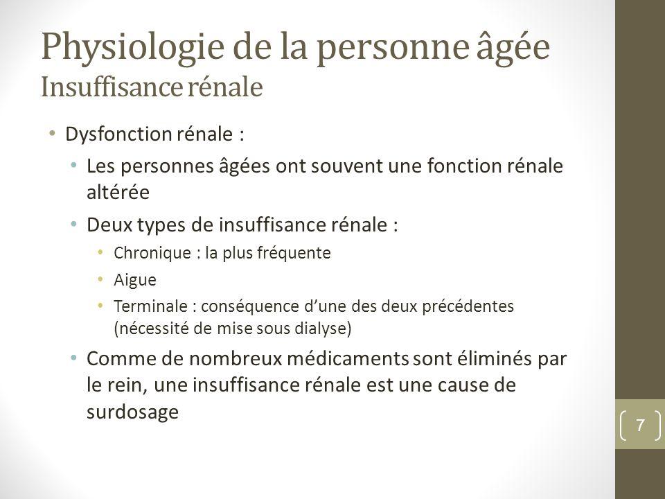 Physiologie de la personne âgée Insuffisance rénale