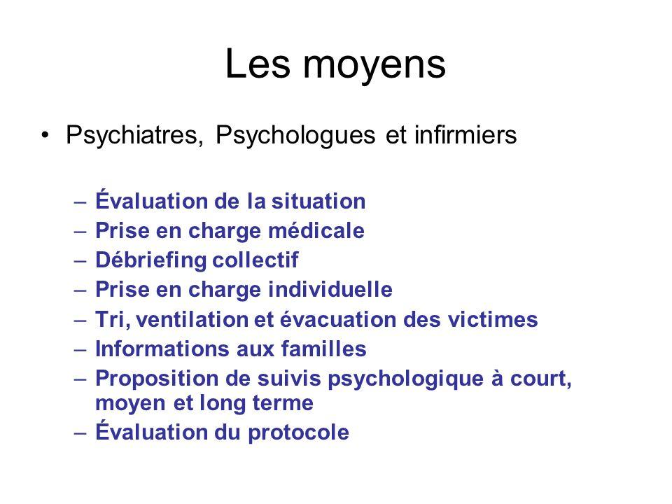 Les moyens Psychiatres, Psychologues et infirmiers