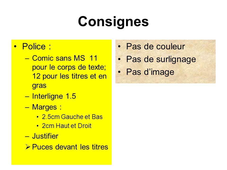 Consignes Police : Pas de couleur Pas de surlignage Pas d'image