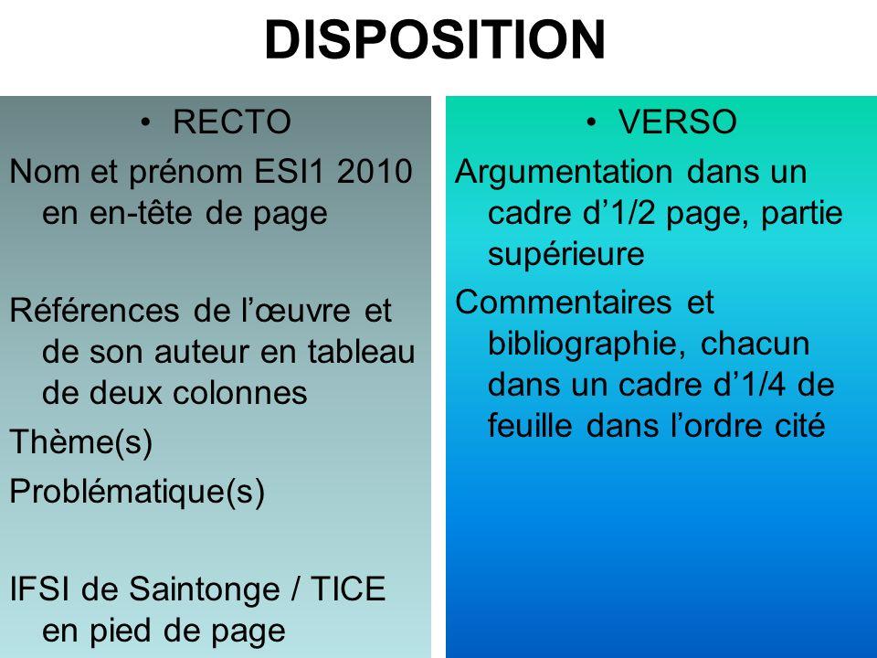 DISPOSITION RECTO Nom et prénom ESI1 2010 en en-tête de page
