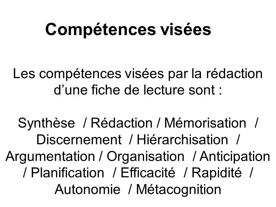 Les compétences visées par la rédaction d'une fiche de lecture sont :