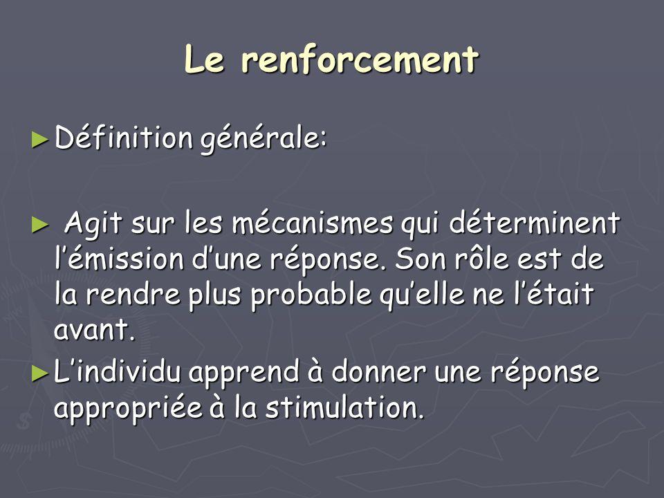 Le renforcement Définition générale:
