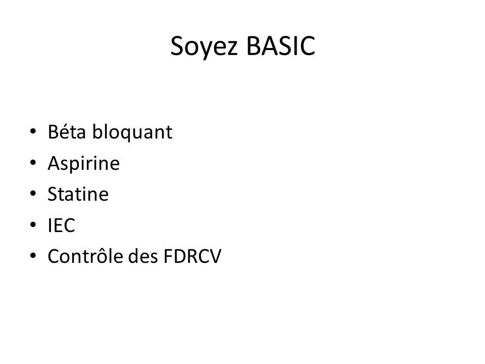 Soyez BASIC Béta bloquant Aspirine Statine IEC Contrôle des FDRCV