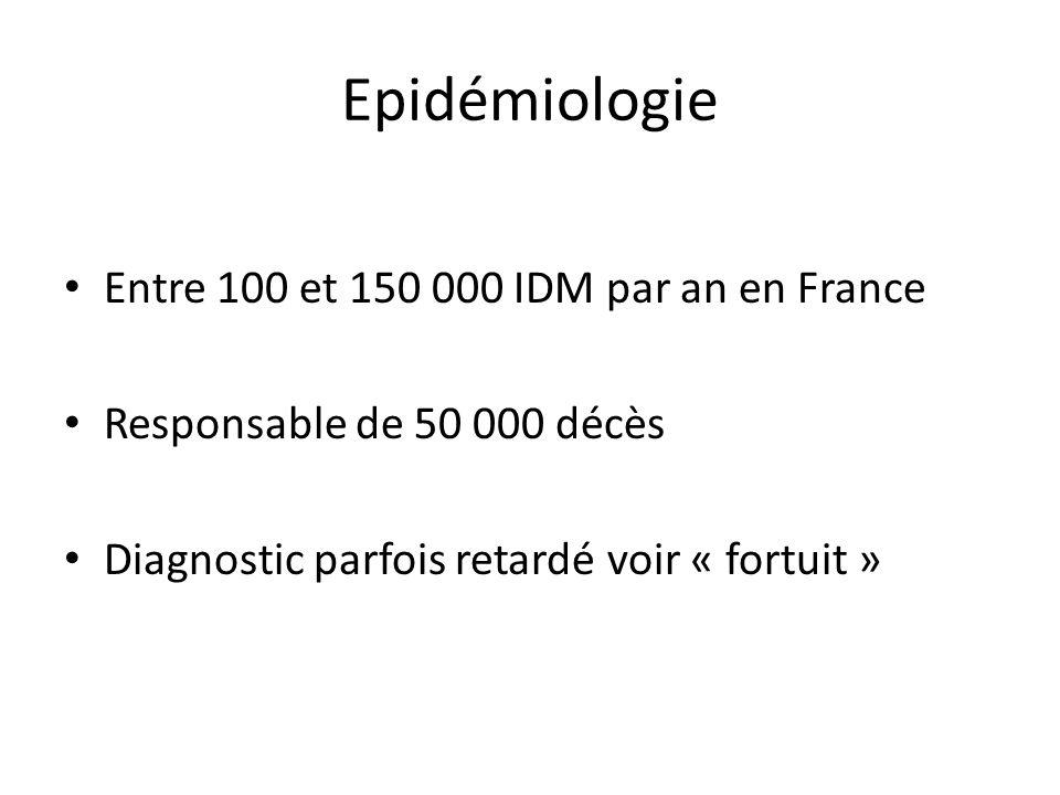 Epidémiologie Entre 100 et 150 000 IDM par an en France