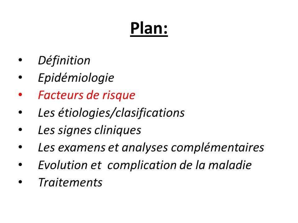 Plan: Définition Epidémiologie Facteurs de risque