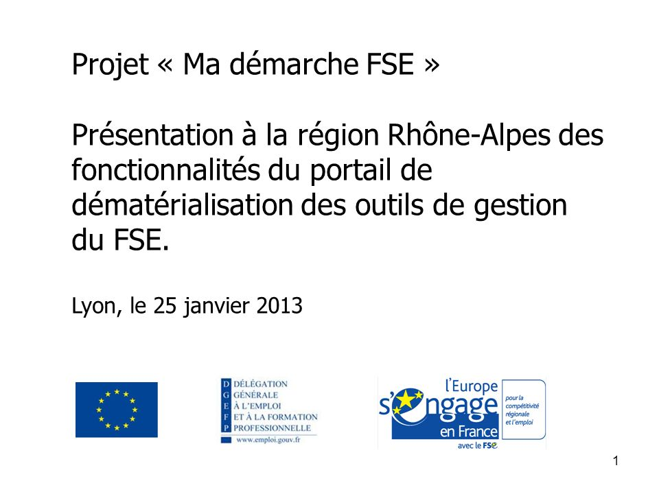 Projet « Ma démarche FSE »