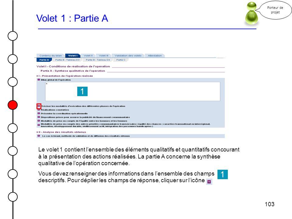 Porteur de projet Volet 1 : Partie A. 1.