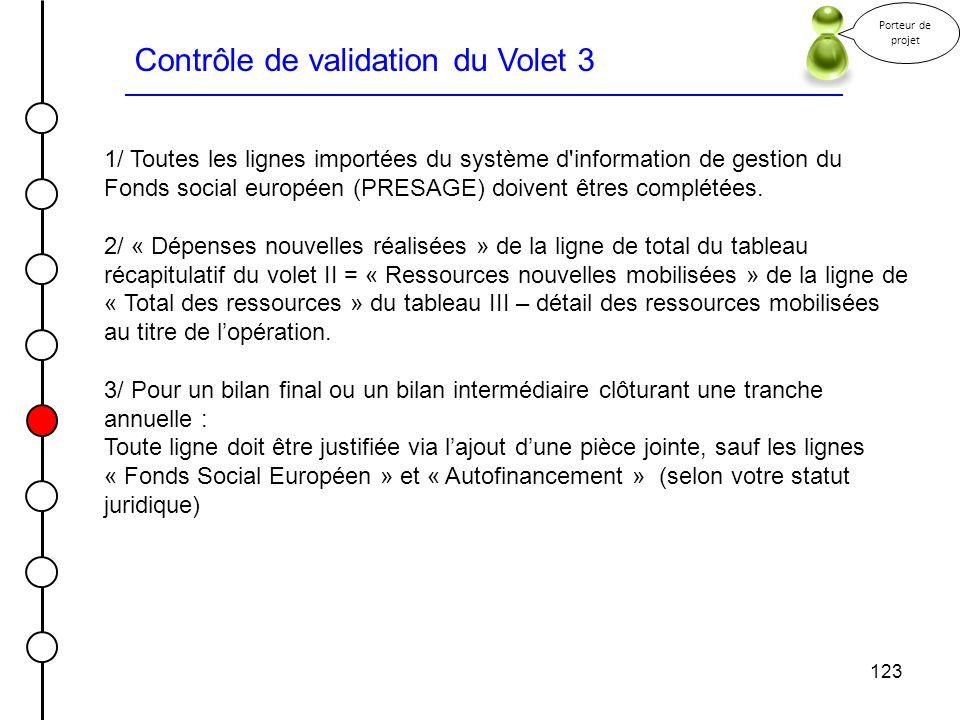 Contrôle de validation du Volet 3