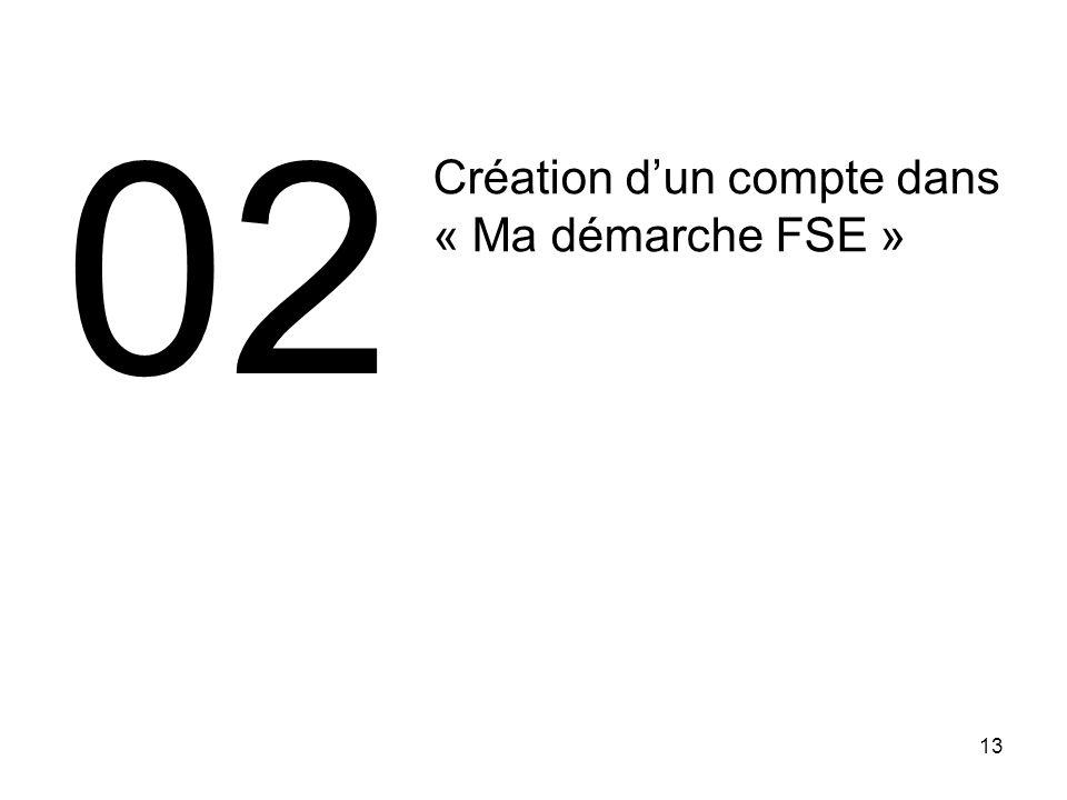 02 Création d'un compte dans « Ma démarche FSE » 13 13