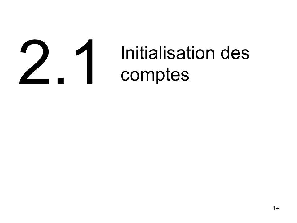 2.1 Initialisation des comptes