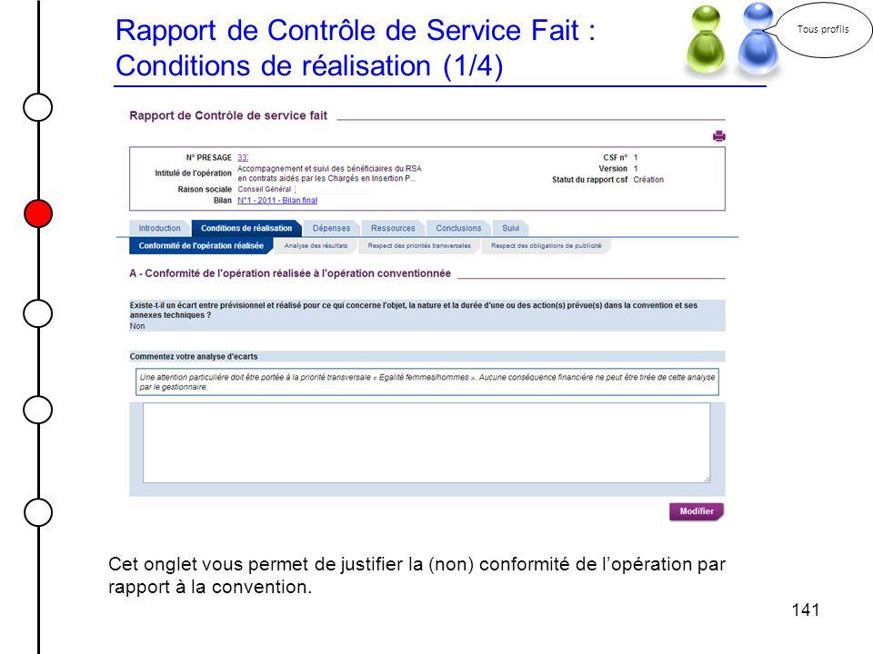 Rapport de Contrôle de Service Fait : Conditions de réalisation (1/4)