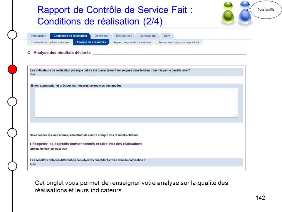 Rapport de Contrôle de Service Fait : Conditions de réalisation (2/4)