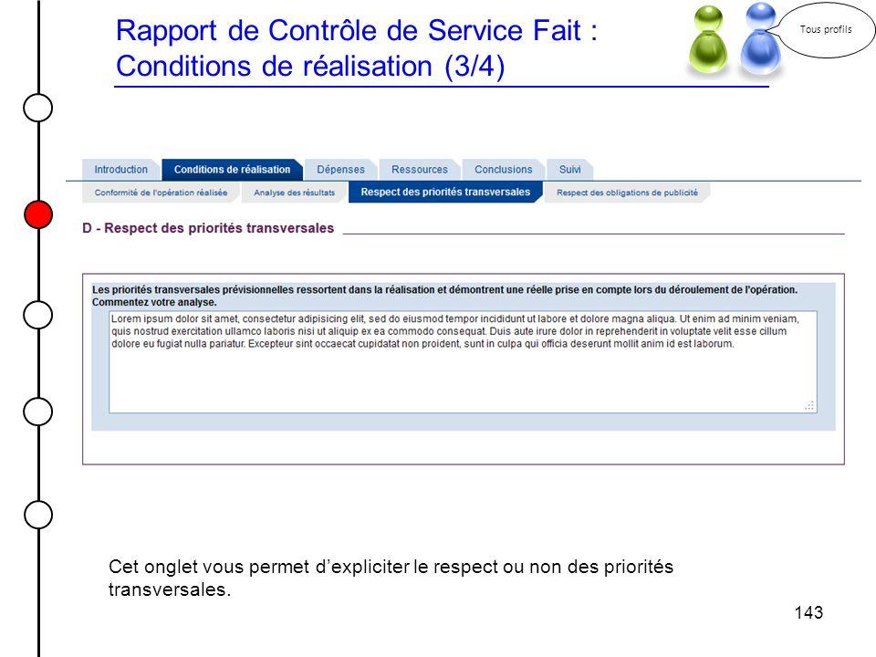 Rapport de Contrôle de Service Fait : Conditions de réalisation (3/4)