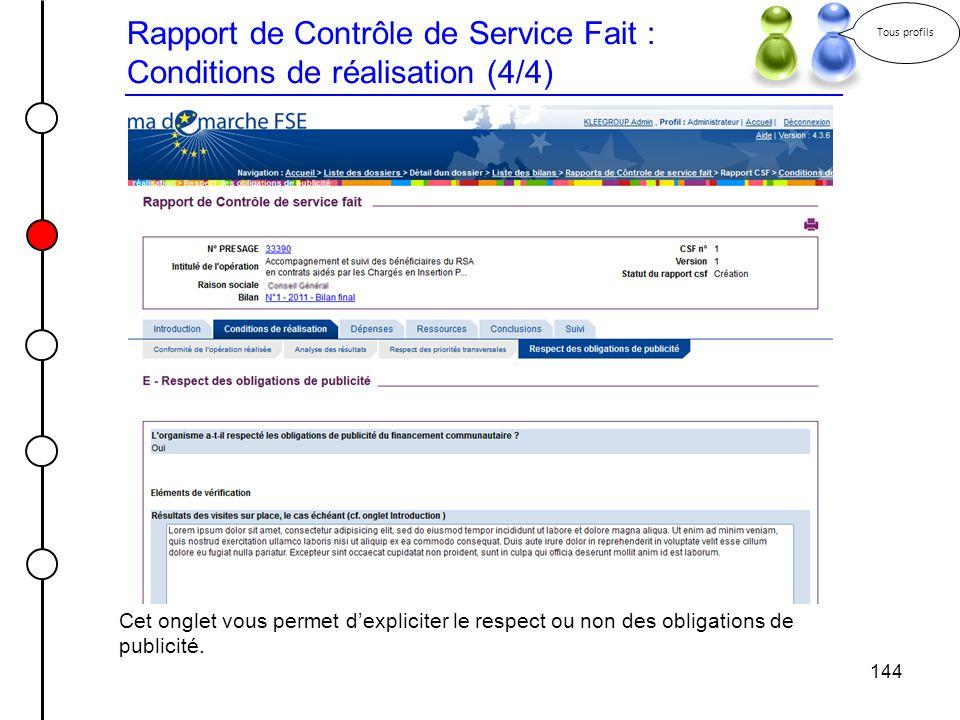 Rapport de Contrôle de Service Fait : Conditions de réalisation (4/4)