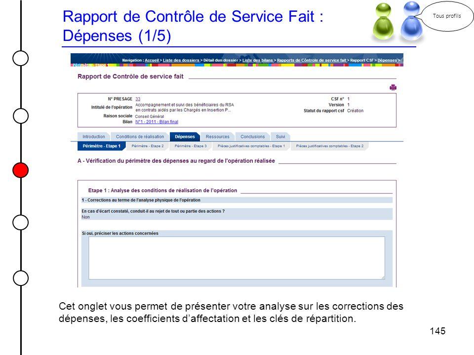 Rapport de Contrôle de Service Fait : Dépenses (1/5)
