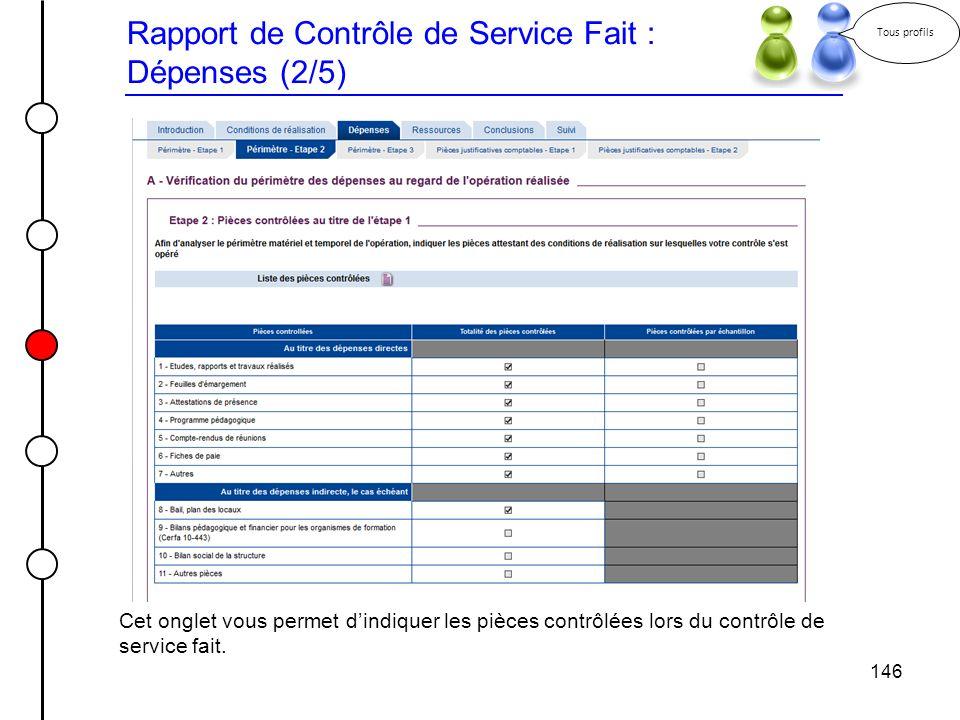Rapport de Contrôle de Service Fait : Dépenses (2/5)