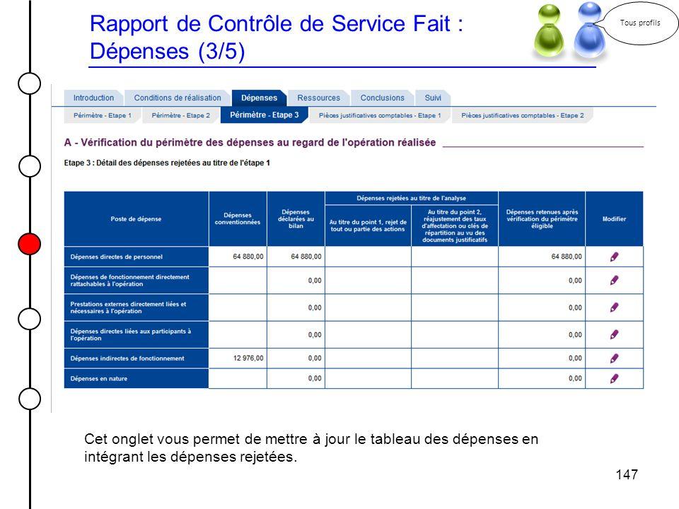 Rapport de Contrôle de Service Fait : Dépenses (3/5)