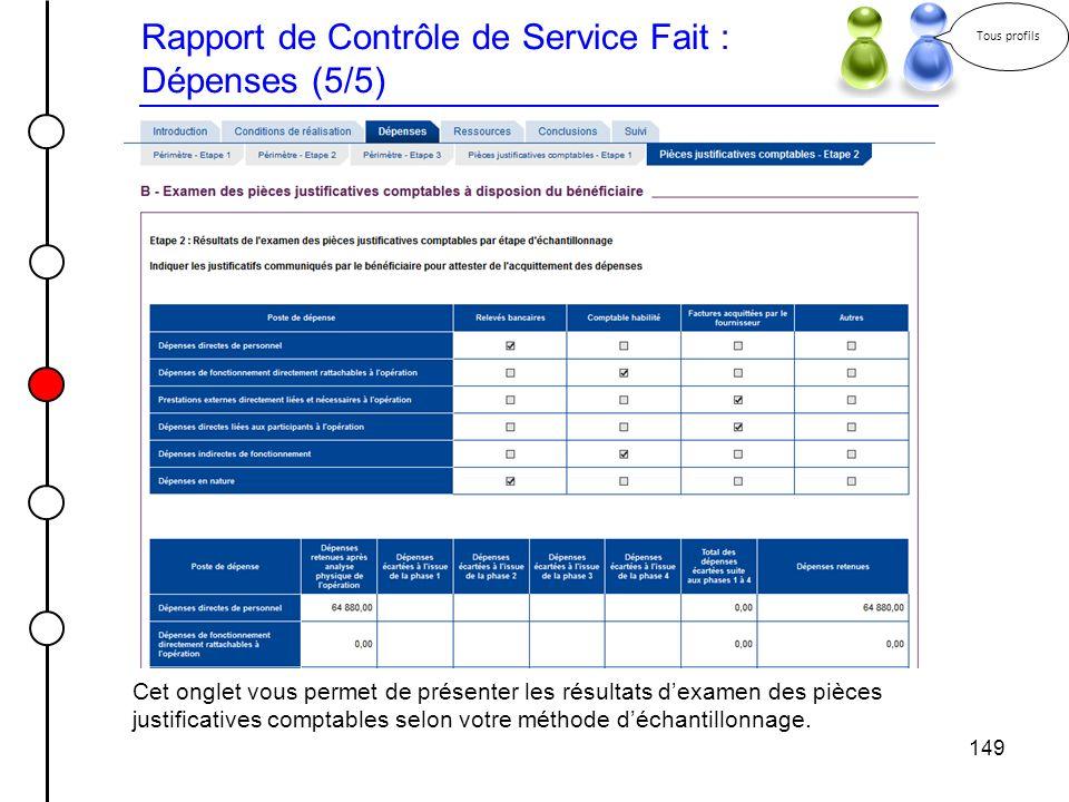 Rapport de Contrôle de Service Fait : Dépenses (5/5)