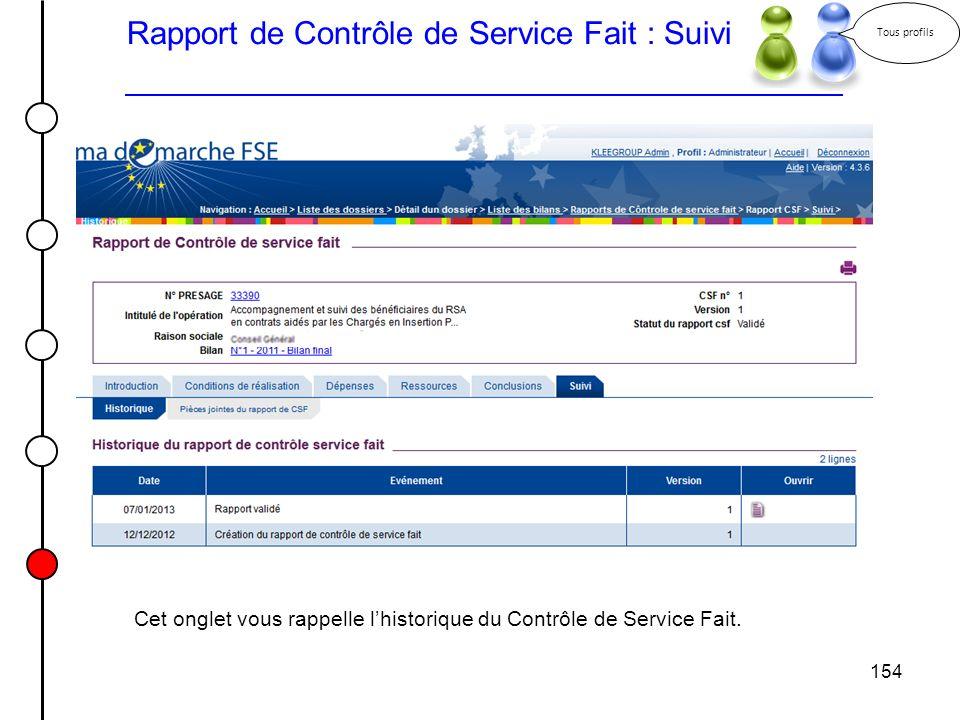 Rapport de Contrôle de Service Fait : Suivi