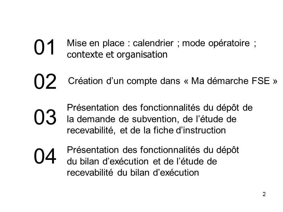 01 Mise en place : calendrier ; mode opératoire ; contexte et organisation. 02. Création d'un compte dans « Ma démarche FSE »