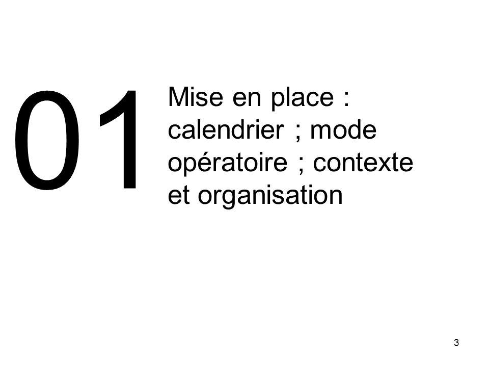 01 Mise en place : calendrier ; mode opératoire ; contexte et organisation 3 3