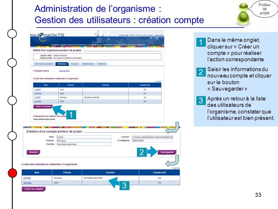 Administration de l'organisme : Gestion des utilisateurs : création compte
