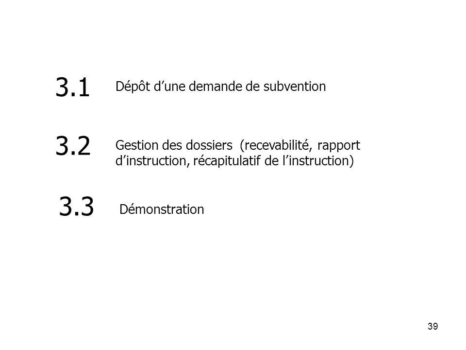 3.1 3.2 3.3 Dépôt d'une demande de subvention