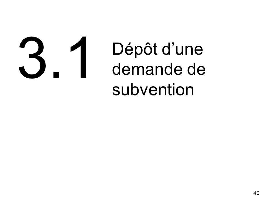 3.1 Dépôt d'une demande de subvention