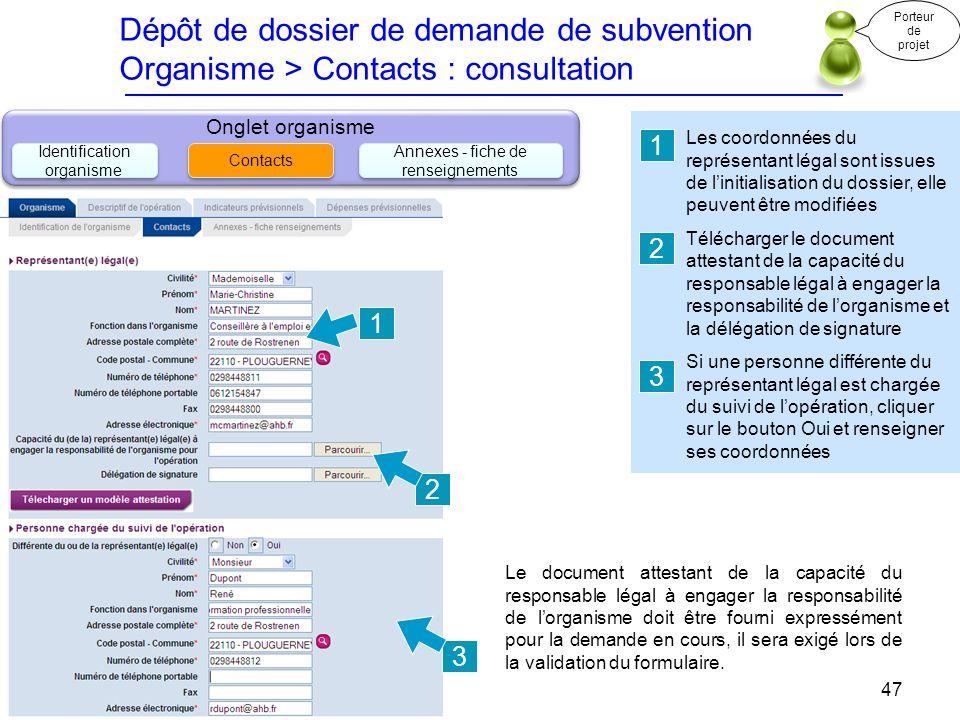 Dépôt de dossier de demande de subvention Organisme > Contacts : consultation
