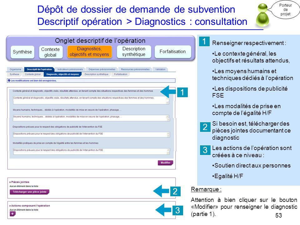 Dépôt de dossier de demande de subvention Descriptif opération > Diagnostics : consultation
