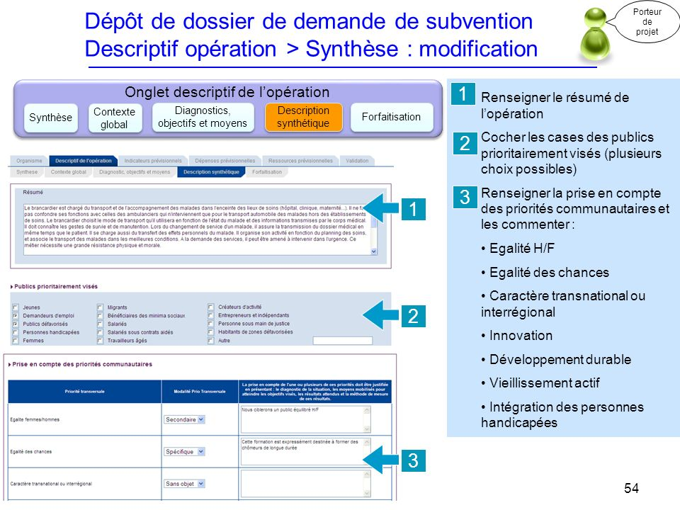 Dépôt de dossier de demande de subvention Descriptif opération > Synthèse : modification