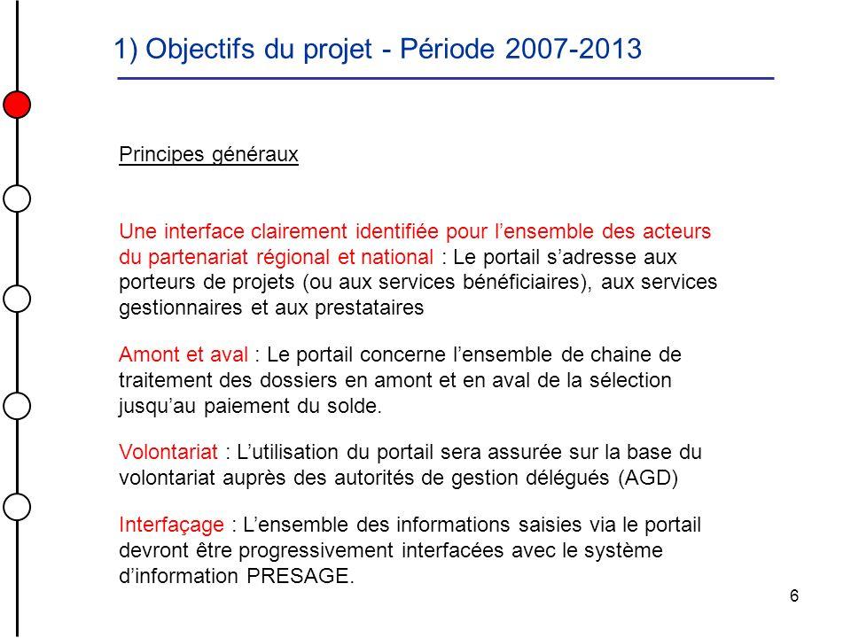 1) Objectifs du projet - Période 2007-2013