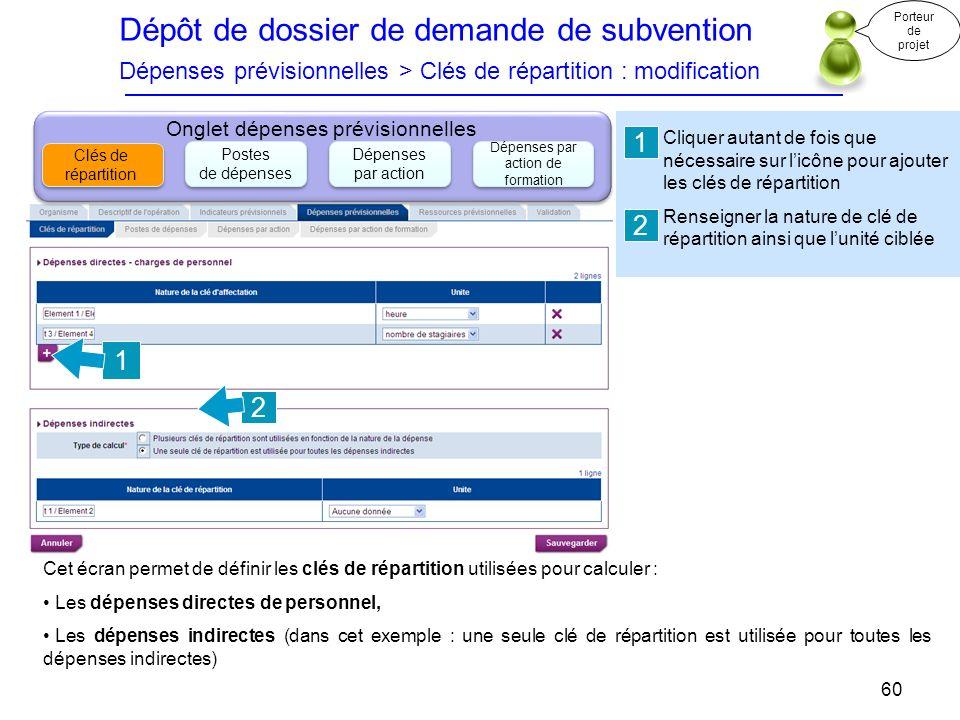 Dépôt de dossier de demande de subvention Dépenses prévisionnelles > Clés de répartition : modification