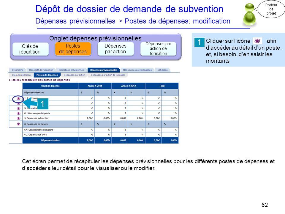 Dépôt de dossier de demande de subvention Dépenses prévisionnelles > Postes de dépenses: modification