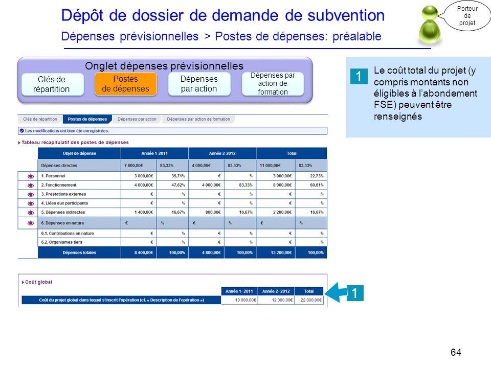 Dépôt de dossier de demande de subvention Dépenses prévisionnelles > Postes de dépenses: préalable Porteur de projet.
