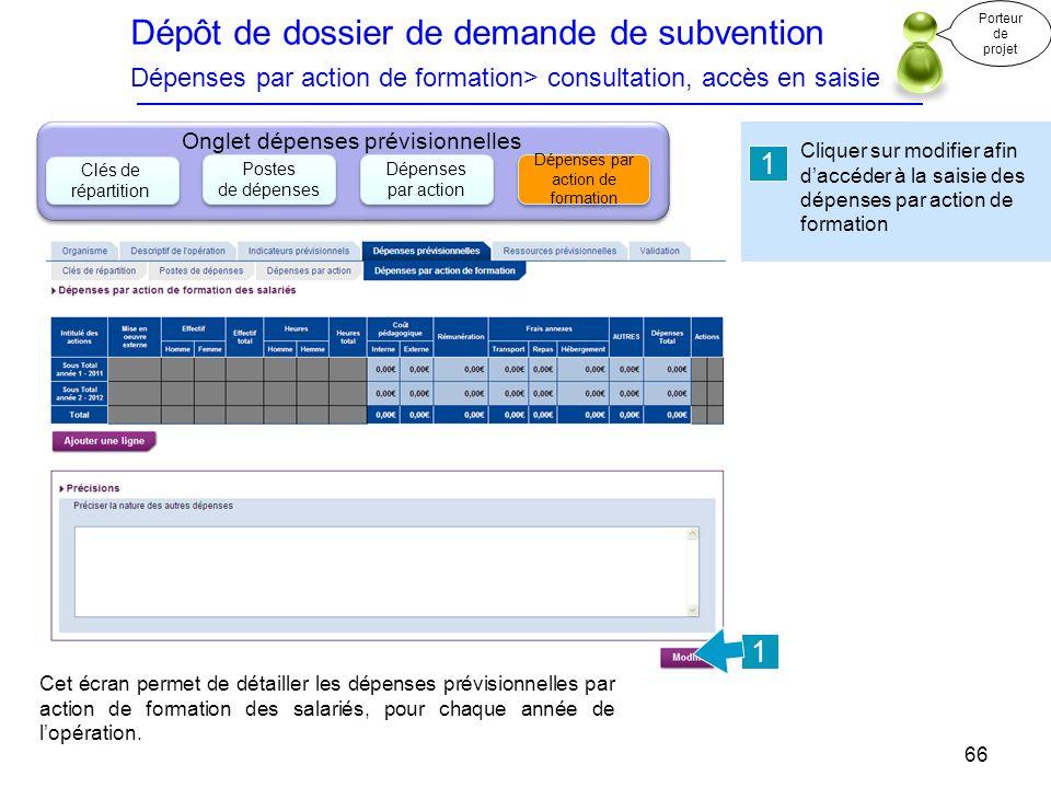 Dépôt de dossier de demande de subvention Dépenses par action de formation> consultation, accès en saisie