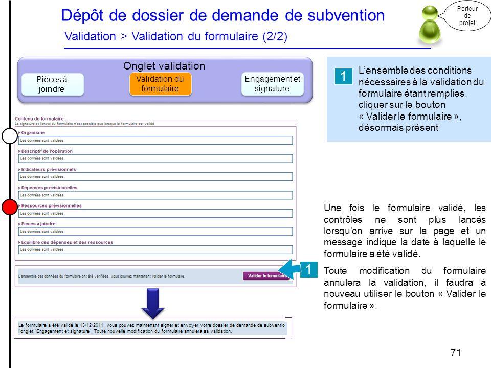 Dépôt de dossier de demande de subvention Validation > Validation du formulaire (2/2)
