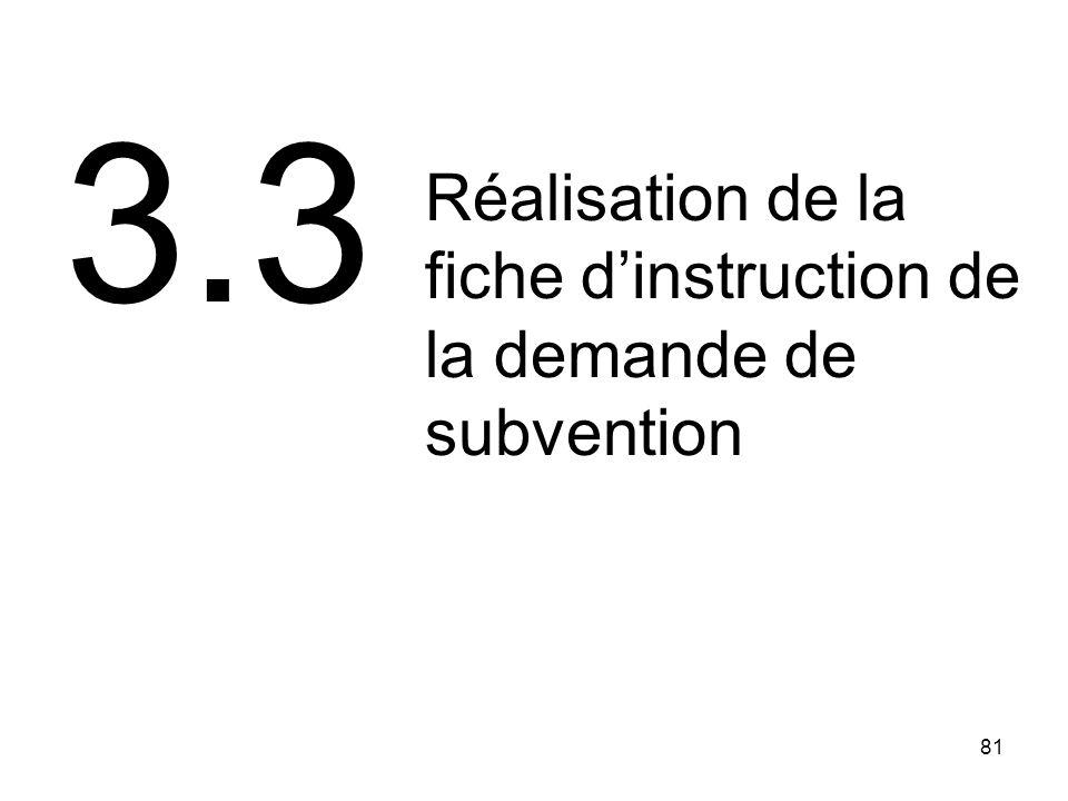 3.3 Réalisation de la fiche d'instruction de la demande de subvention