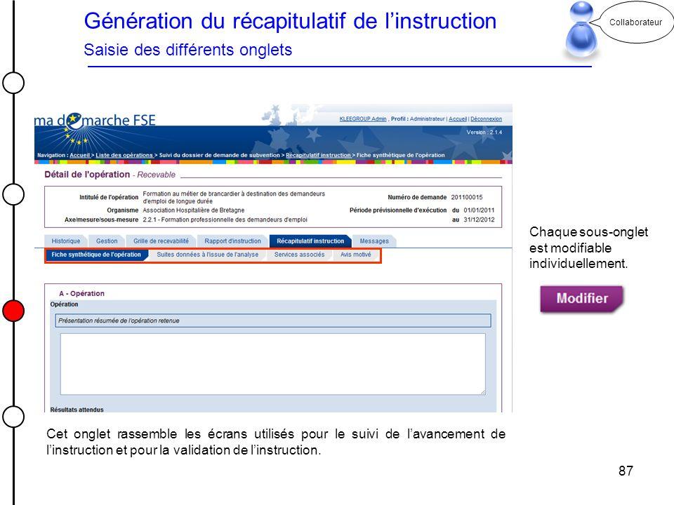 Génération du récapitulatif de l'instruction Saisie des différents onglets