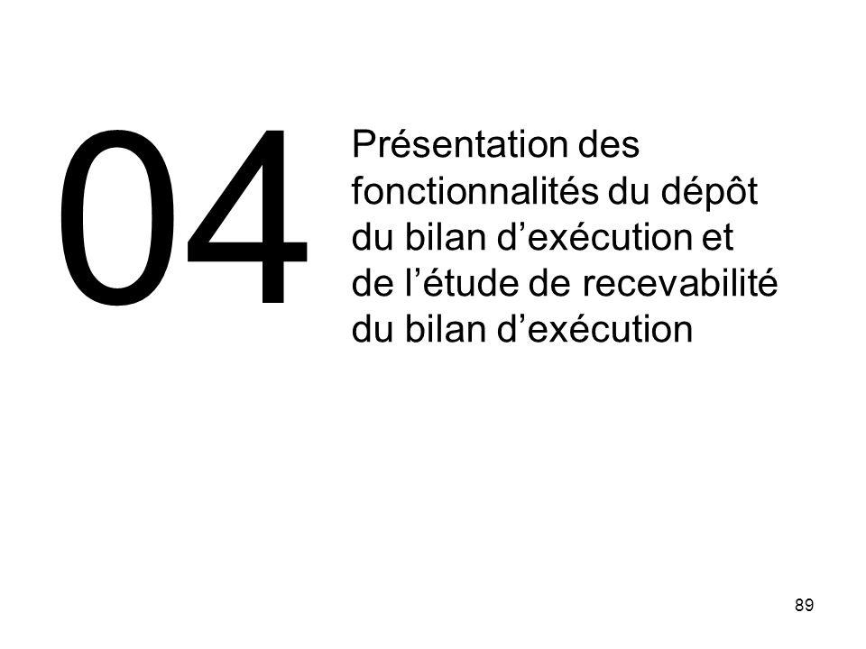 04 Présentation des fonctionnalités du dépôt du bilan d'exécution et de l'étude de recevabilité du bilan d'exécution.