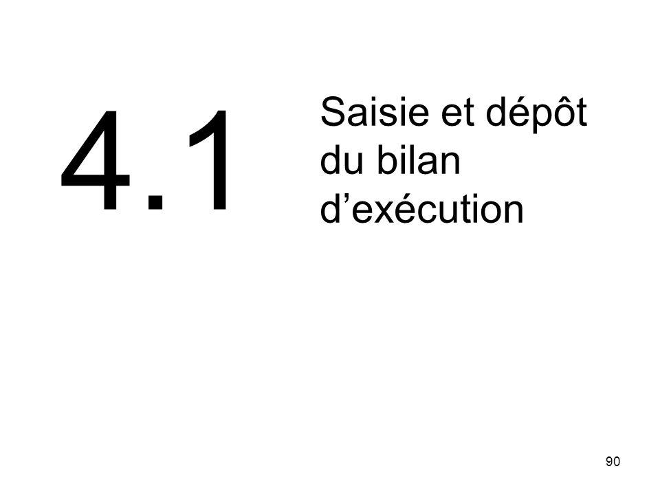 4.1 Saisie et dépôt du bilan d'exécution 90 90