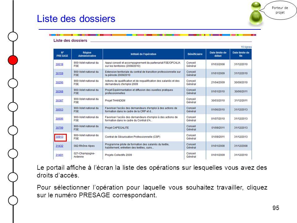 Porteur de projet Liste des dossiers. Le portail affiche à l'écran la liste des opérations sur lesquelles vous avez des droits d'accès.