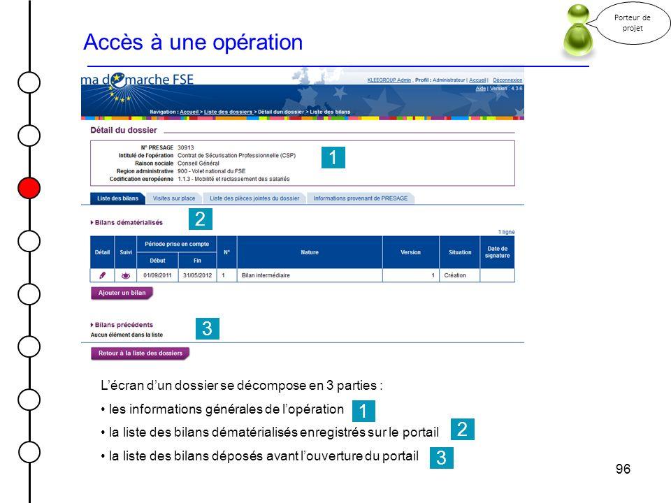Porteur de projet Accès à une opération. 1. 2. 3. L'écran d'un dossier se décompose en 3 parties :