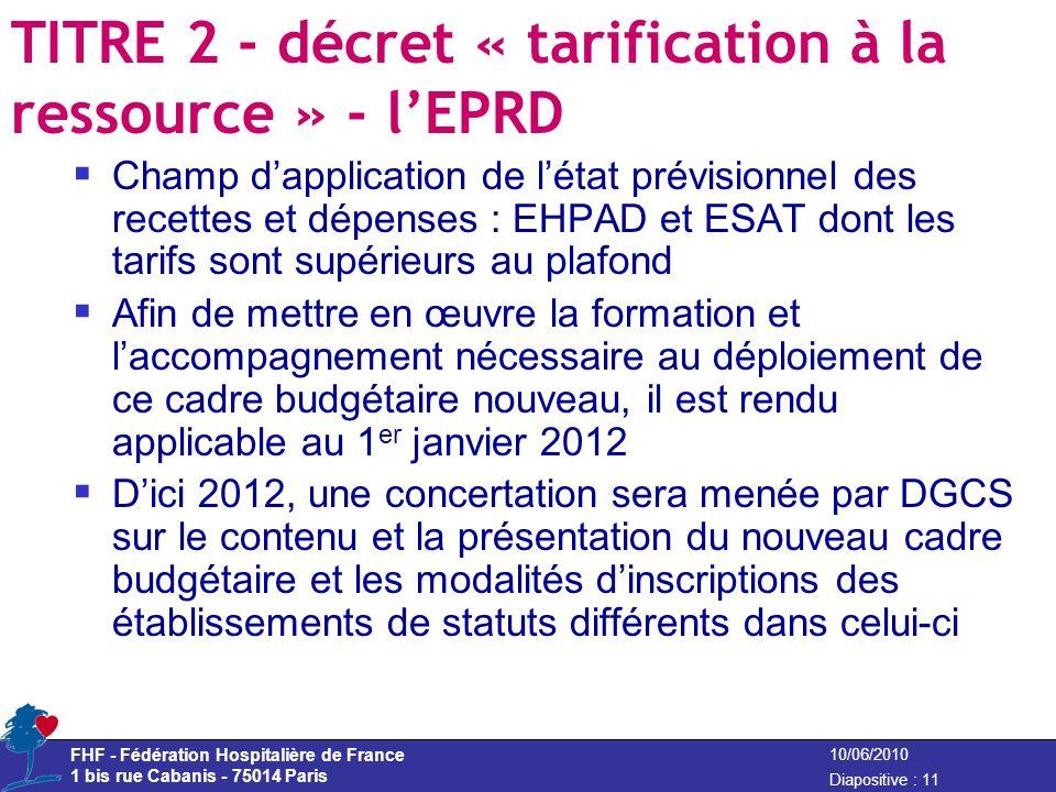 TITRE 2 - décret « tarification à la ressource » - l'EPRD