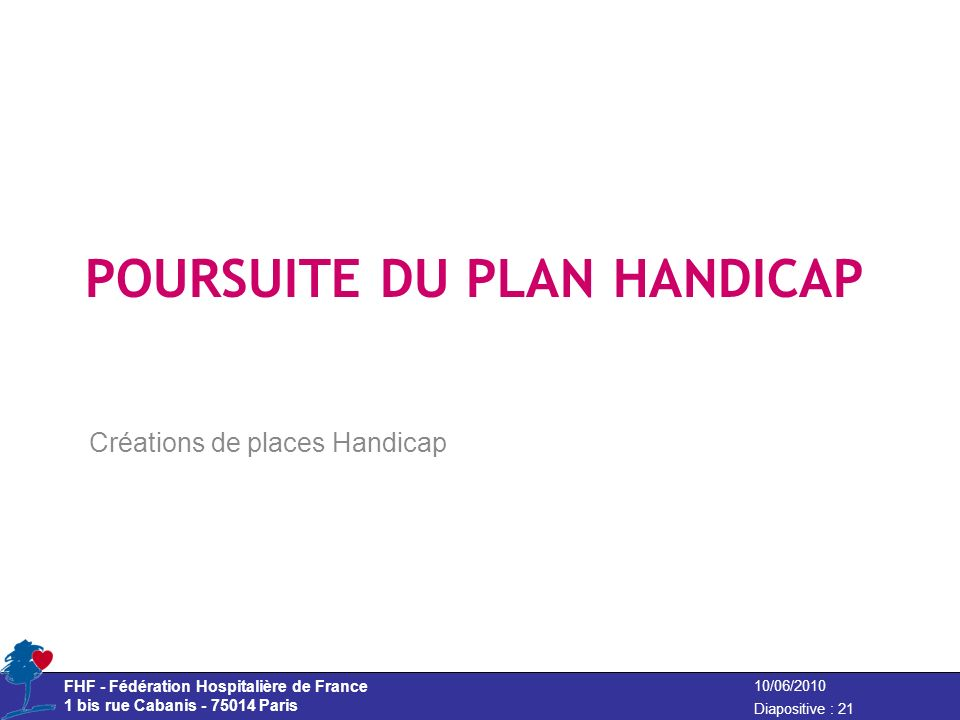 POURSUITE DU PLAN HANDICAP