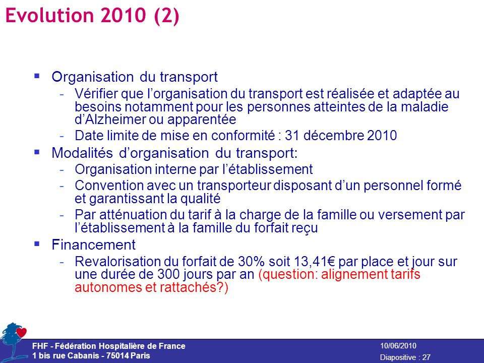 Evolution 2010 (2) Organisation du transport